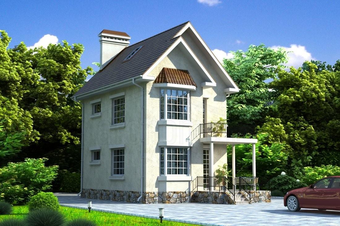 W-082-1k проект двухэтажного компактного дома с террасой и к.