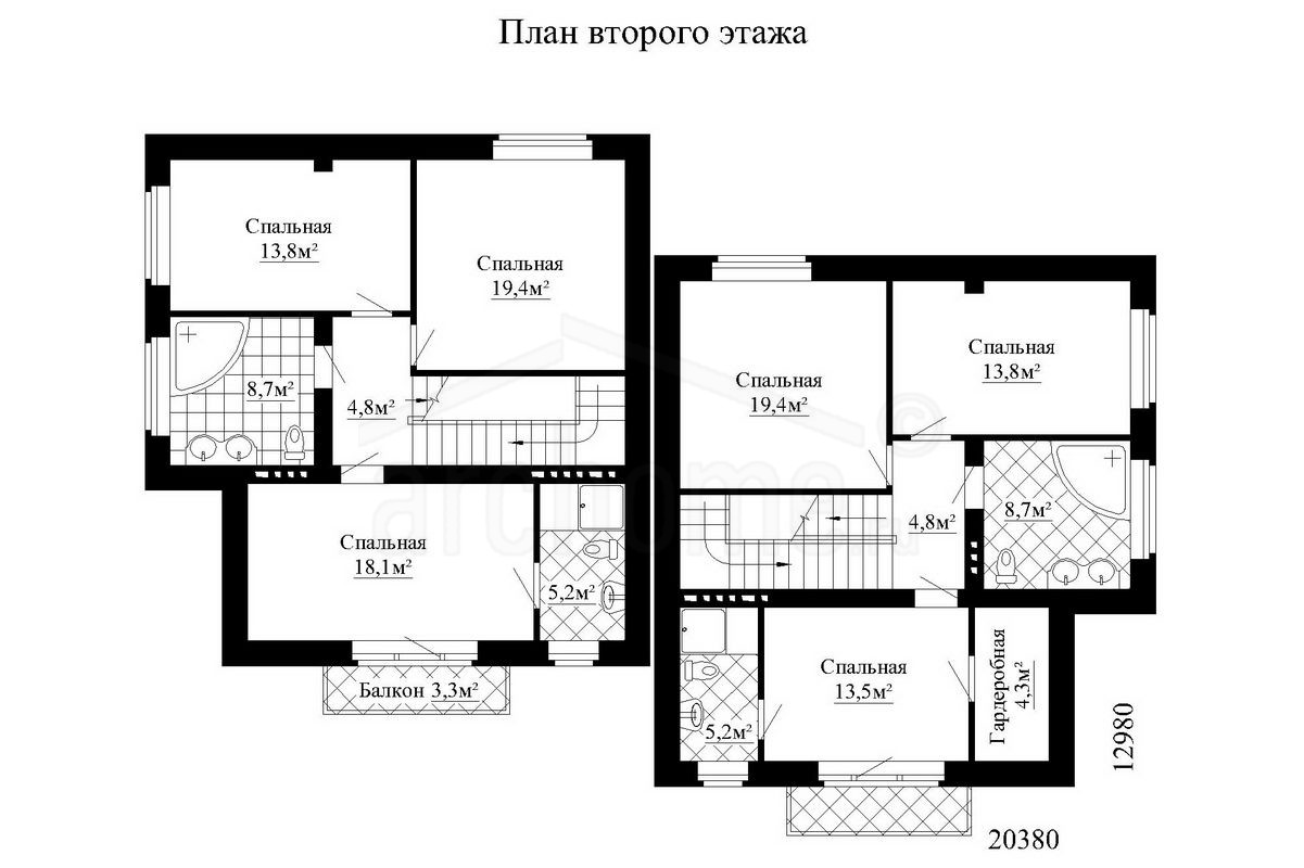 Планы этажей проекта ДУЭТ 2